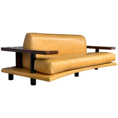 American Art Deco Style Burl Walnut Sofa