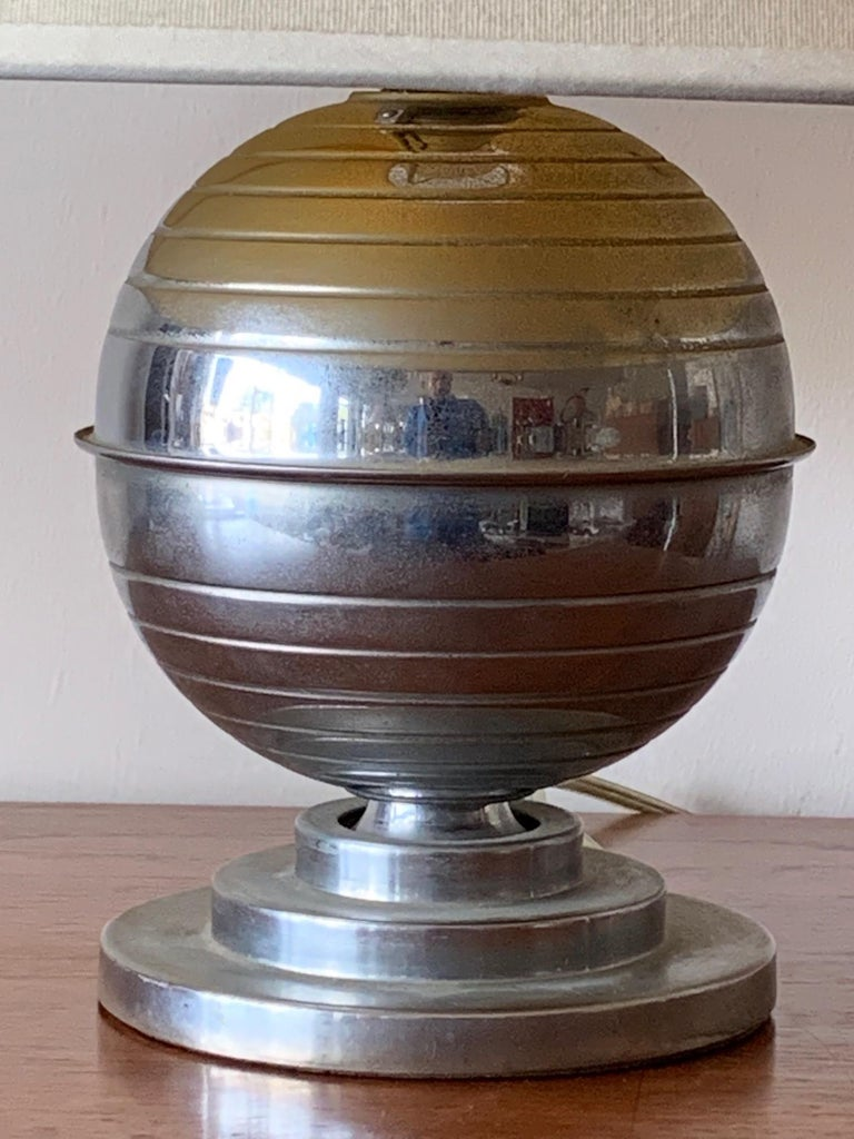 Steel American Art Deco Table Lamp For Sale