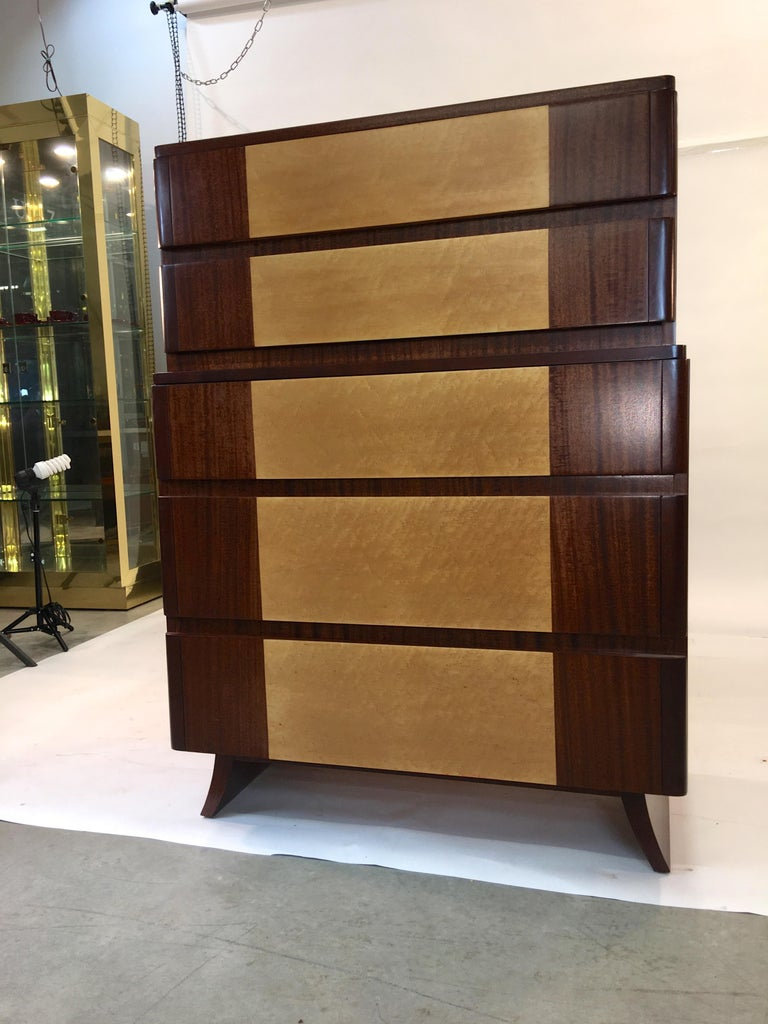 American Art Deco Tall Chest of Drawers by R-Way For Sale 9