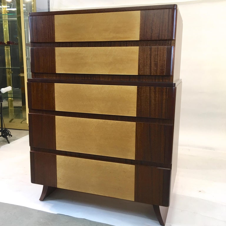 Mid-20th Century American Art Deco Tall Chest of Drawers by R-Way For Sale