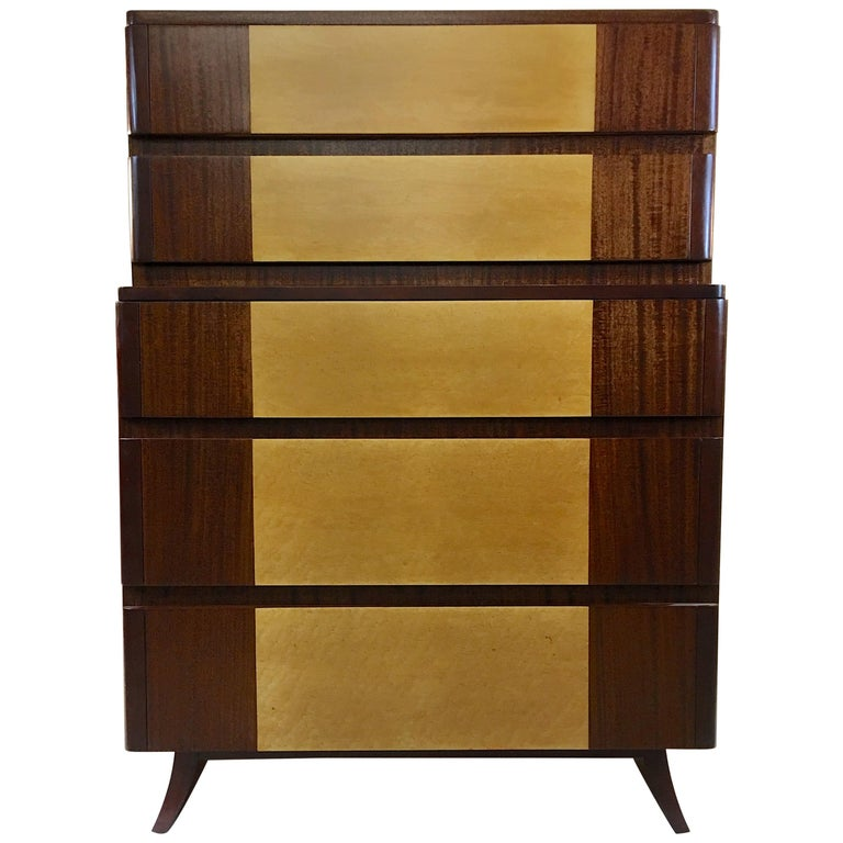 American Art Deco Tall Chest of Drawers by R-Way For Sale