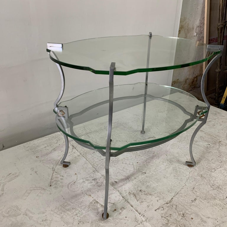 Original green glass with intricate cut-out design., very sturdy and elegant. Very rare!  Note: 14 inches high to first tier of glass.