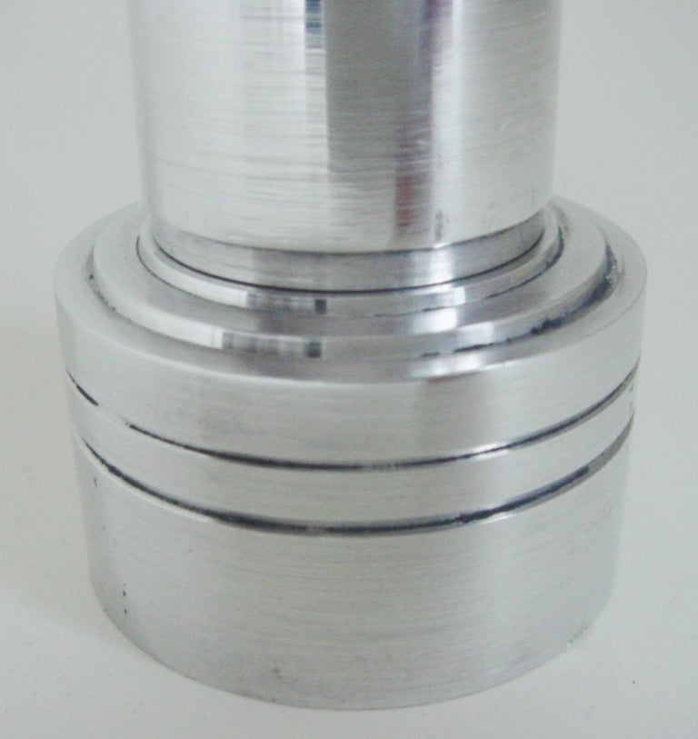 Turned American Art Deco/Machine Age Polished Aluminum Wheel and Flint Table Lighter