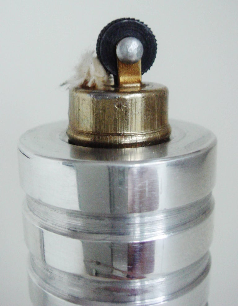 Mid-20th Century American Art Deco/Machine Age Polished Aluminum Wheel and Flint Table Lighter