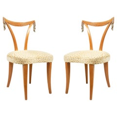 American Art Moderne Grosfeld House 1940s Fruitwood Side Chairs