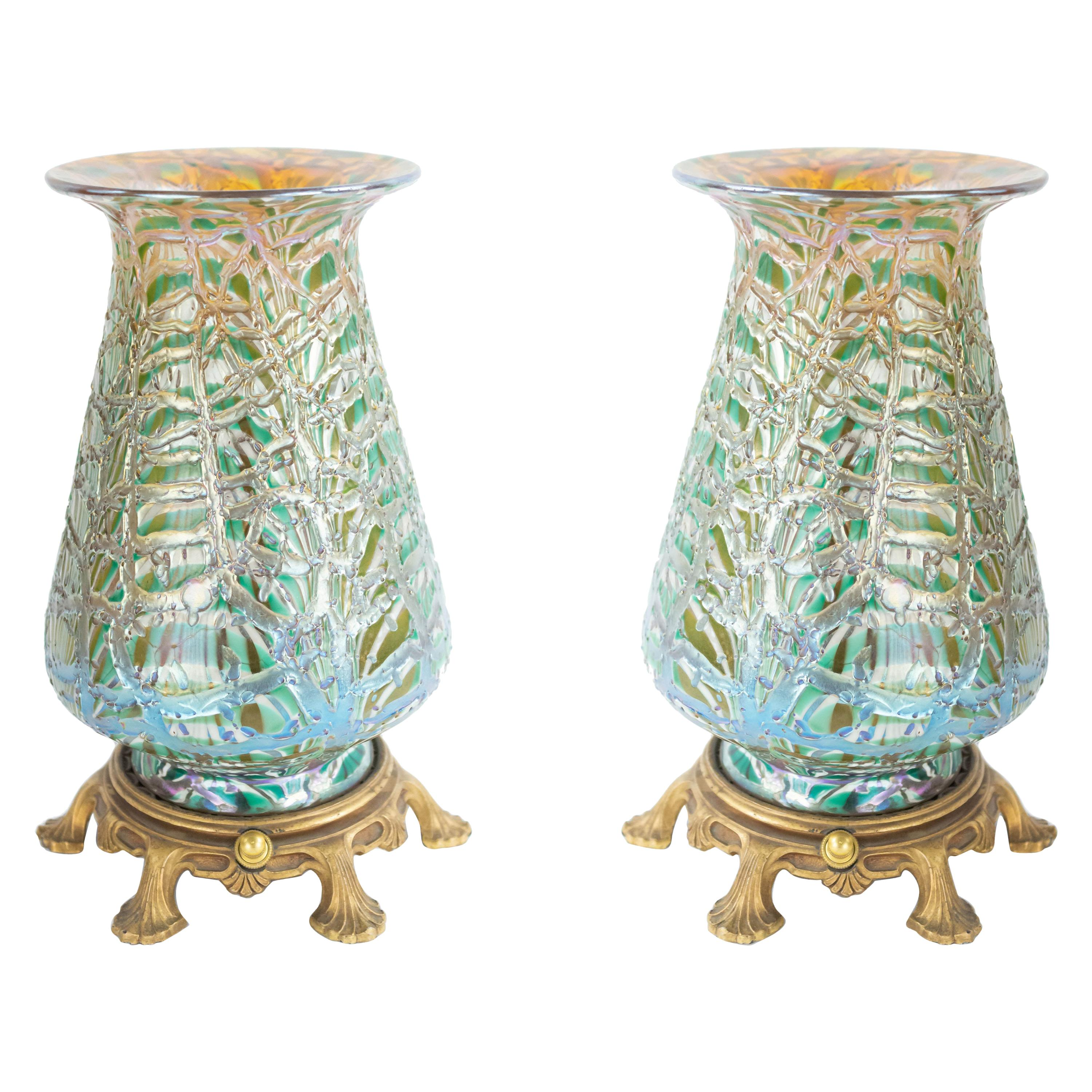 American Art Nouveau Durand Green Glass Table Lamps