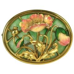American Art Nouveau Plique a Jour Brooch
