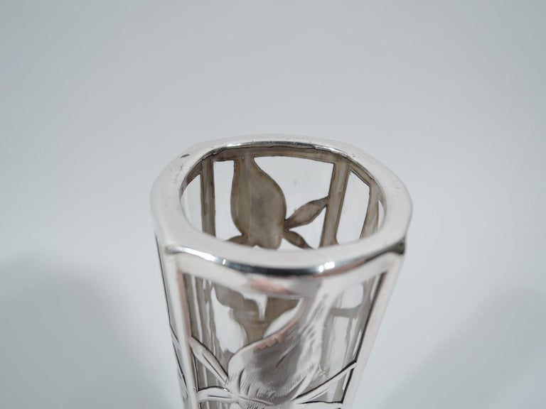 American Art Nouveau Silver Overlay Vase in Clear Glass Shading to Red In Excellent Condition For Sale In New York, NY