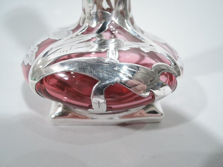 20th Century American Art Nouveau Silver Overlay Vase in Clear Glass Shading to Red For Sale
