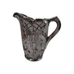 American Art Nouveau Silver Overlay Water Pitcher with Iris Flowers