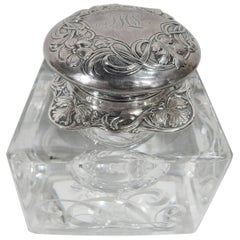 American Art Nouveau Sterling Silver and Glass Inkwell by Gorham