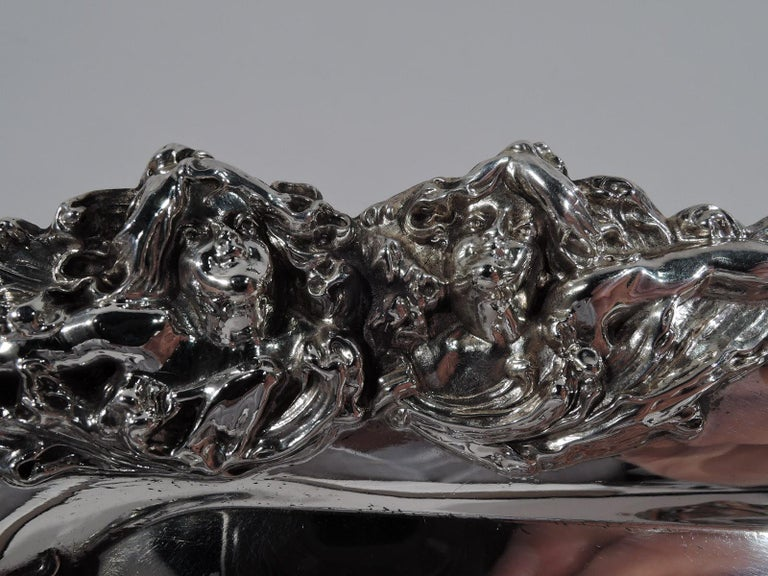 19th Century American Art Nouveau Sterling Silver Pen Tray with Lorelei Nymphs
