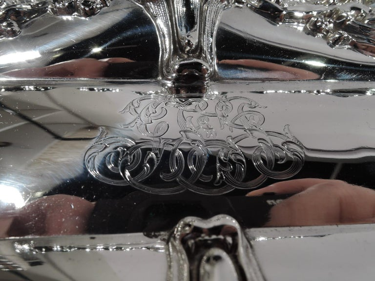 American Art Nouveau Sterling Silver Pen Tray with Lorelei Nymphs 2