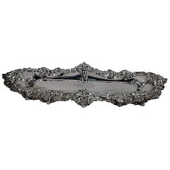 American Art Nouveau Sterling Silver Pen Tray with Lorelei Nymphs