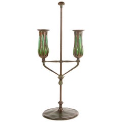 American Art Nouveau Tiffany Studios Telescopic Double Candlestick