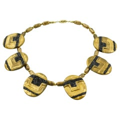 American Artist Designer Eileen Aubi 1961 Gilt Resin Sculpture Choker Necklace