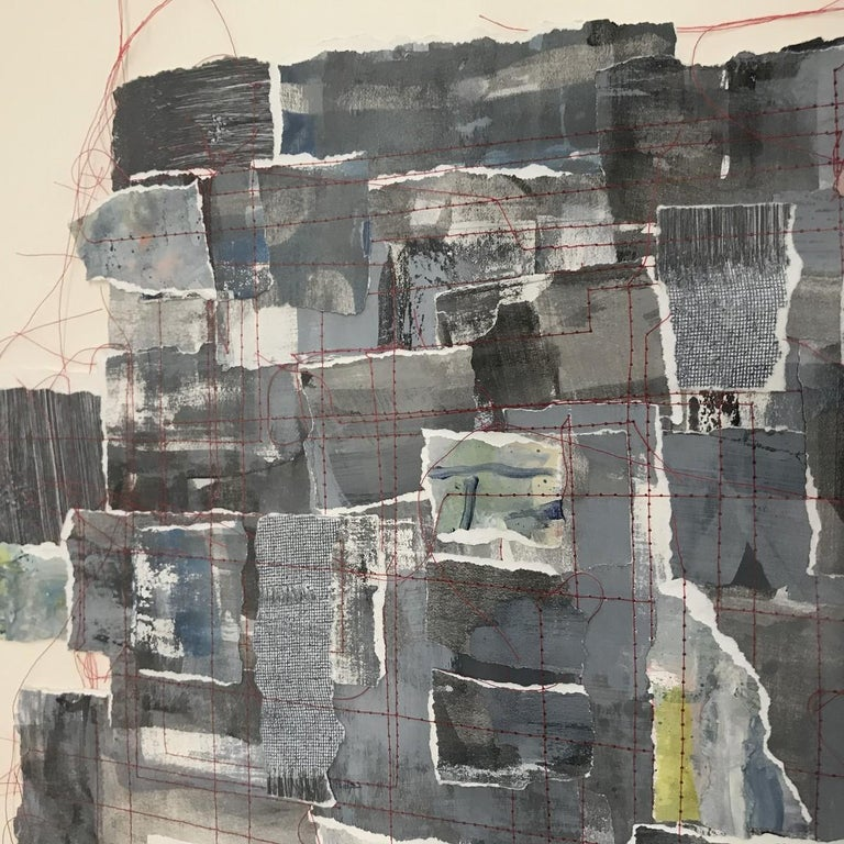 Contemporary abstract collage of disassembled gouache painting joined with red thread by American artist Sandra Constantine