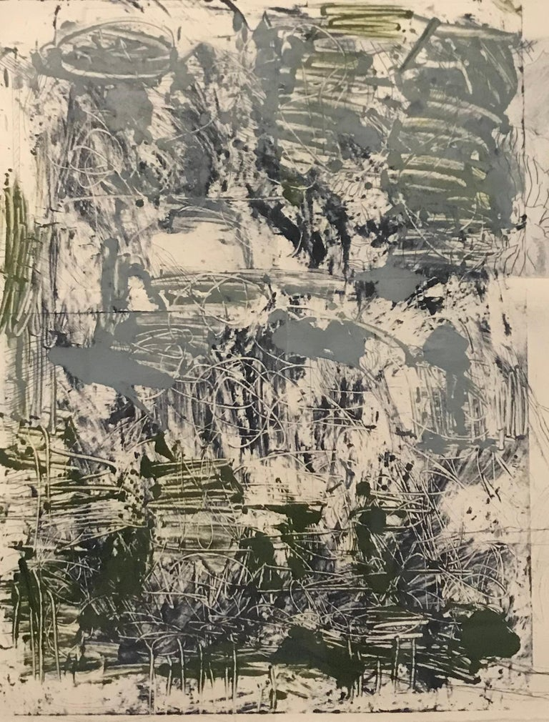 Contemporary abstract drypoint monoprint by American artist Sandra Constantine