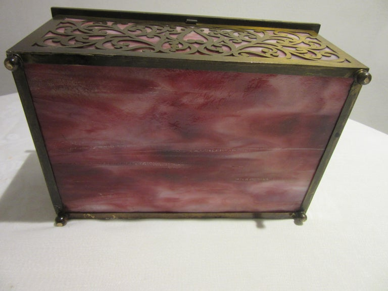 Arts and Crafts American Arts & Crafts Cigar Box with Stained Glass and Pierced Brass For Sale