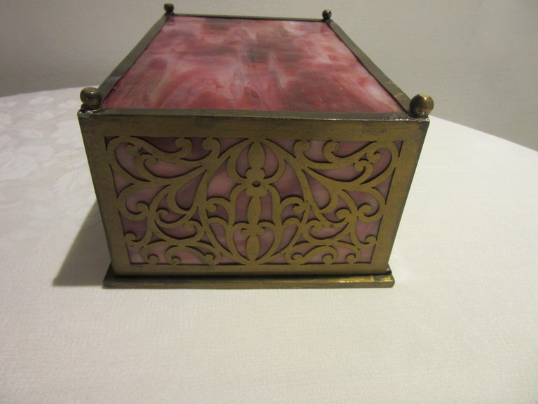 American Arts & Crafts Cigar Box with Stained Glass and Pierced Brass In Good Condition For Sale In New York, NY
