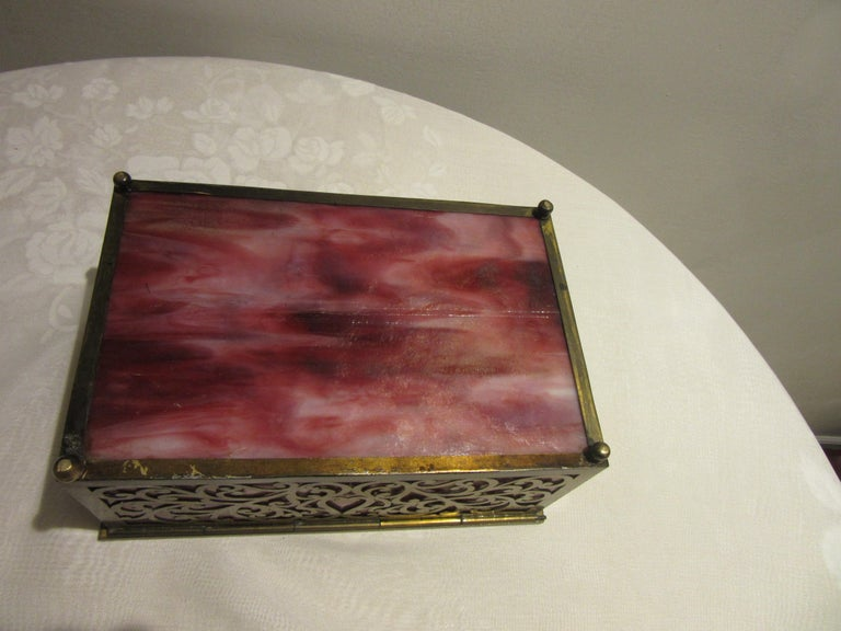 Early 20th Century American Arts & Crafts Cigar Box with Stained Glass and Pierced Brass For Sale