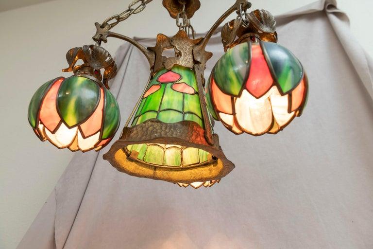 Bronze American Arts & Crafts/ Art Nouveau Leaded Glass 4 Light Chandelier, circa 1910 For Sale