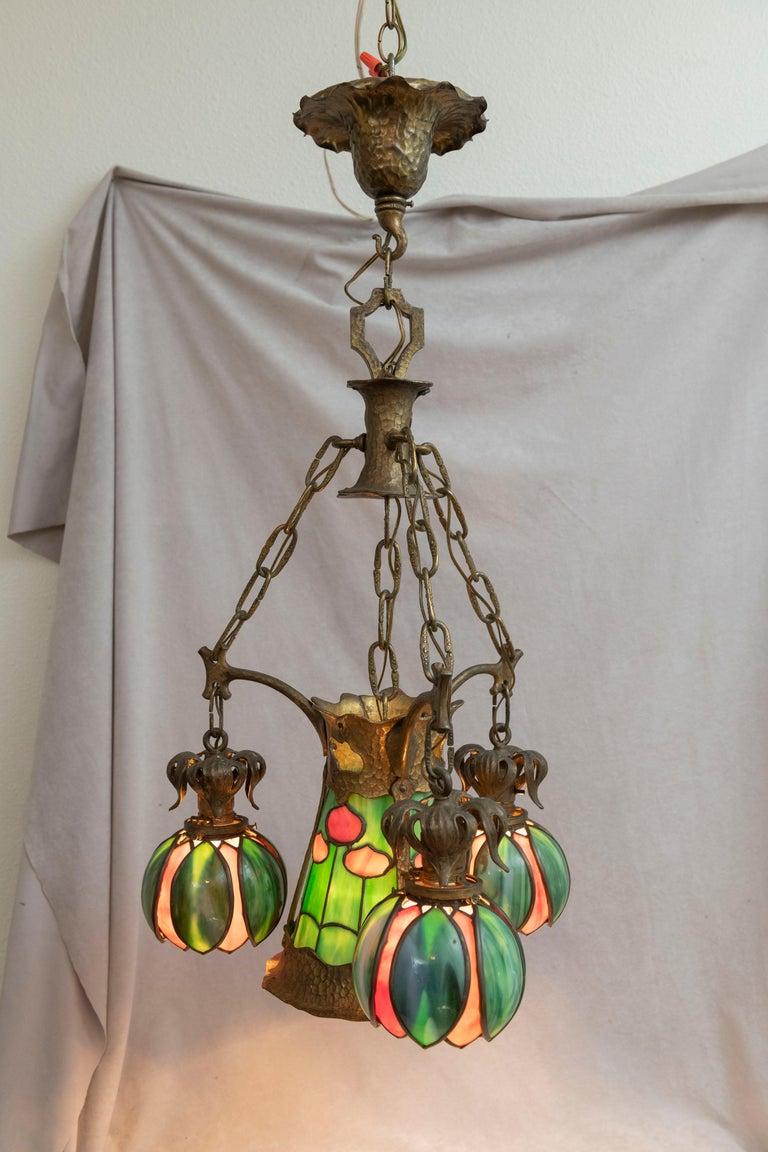 American Arts & Crafts/ Art Nouveau Leaded Glass 4 Light Chandelier, circa 1910 For Sale 2