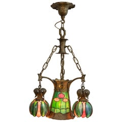 American Arts & Crafts/ Art Nouveau Leaded Glass 4 Light Chandelier, circa 1910