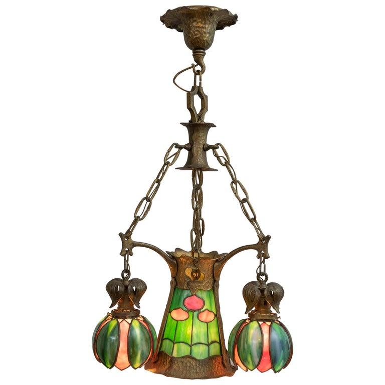 American Arts & Crafts/ Art Nouveau Leaded Glass 4 Light Chandelier, circa 1910 For Sale