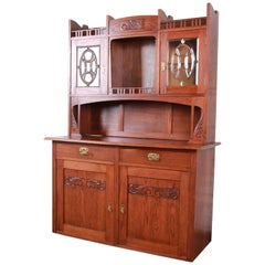 American Arts & Crafts Carved Oak Sideboard with Hutch