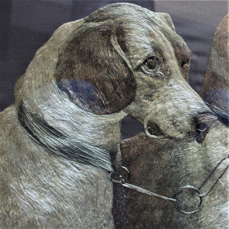 American Craftsman American Arts & Crafts Framed Silk Embroidery of Two Dogs For Sale