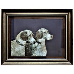 American Arts & Crafts Framed Silk Embroidery of Two Dogs