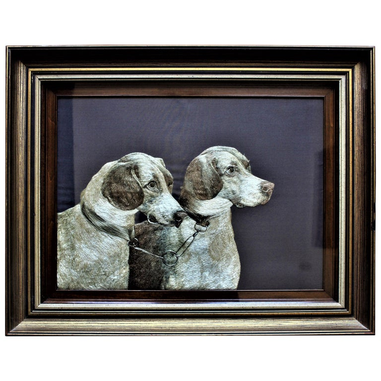 American Arts & Crafts Framed Silk Embroidery of Two Dogs For Sale