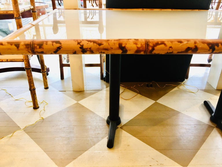 American Bamboo and Wooden Dining Table on Metal Base For Sale 6