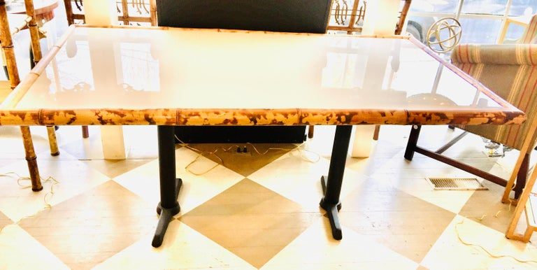 North American American Bamboo and Wooden Dining Table on Metal Base For Sale