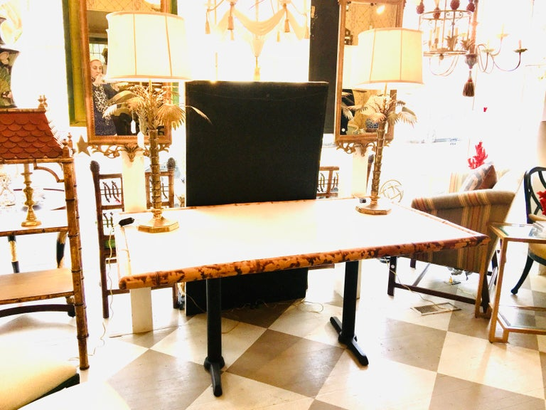 Late 20th Century American Bamboo and Wooden Dining Table on Metal Base For Sale