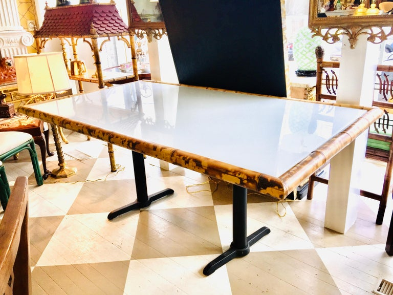 Other American Bamboo and Wooden Dining Table on Metal Base For Sale