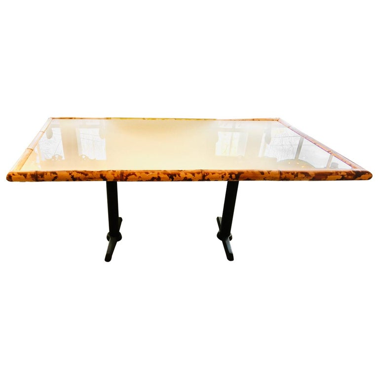 American Bamboo and Wooden Dining Table on Metal Base For Sale