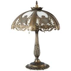 American Beaux Arts Slag Glass Lamp, circa 1910