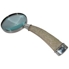 American Big Game Sterling Silver Magnifying Glass with Horn Handle