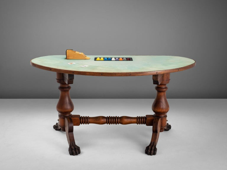 American Black Jack Game Table in Mahogany In Good Condition In Waalwijk, NL