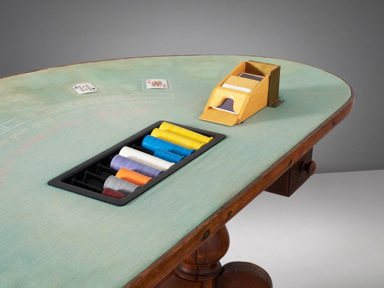 Mid-20th Century American Black Jack Game Table in Mahogany