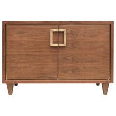 American Black Walnut Inset Cabinet with Brass Handles by Mark Jupiter