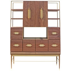 American Black Walnut Mid-Modern Filing Cabinet with Solid Brass by Mark Jupiter