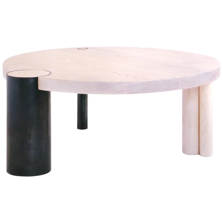Medium Whitewashed Ash Round Coffee Table with Blackened Steel Feature Leg For Sale