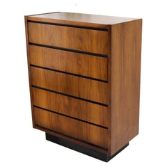American Bookmatched Walnut Five Drawers High Chest Dresser
