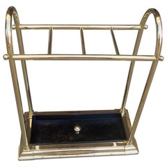 American Brass and Cast Iron Arched Pole Four Slotted Umbrella Stand, circa 1880