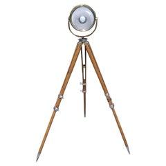 American Brass and Oak Swivel Spot Light on Telescopic Tripod Stand, Circa 1880