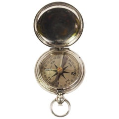 WWI Antique American Chromed Brass Pocket Compass by Wittnauer  Army Officers