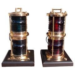 Pair of American Brass Double Stacked Maritime Beacons Mounted on Bases. C. 1880